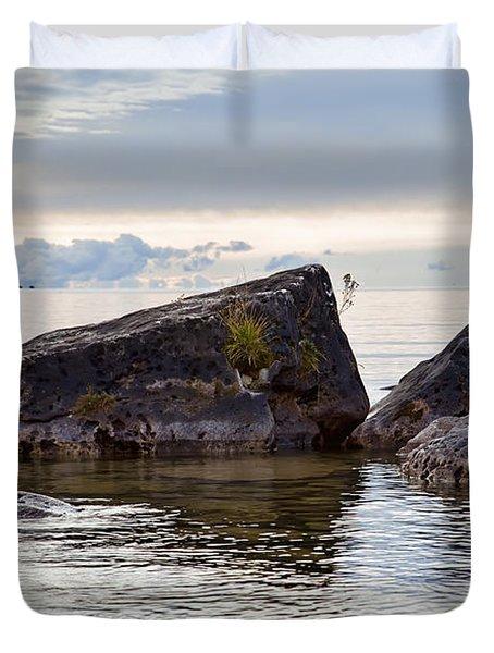 Lake Huron's Rocky Shore Duvet Cover