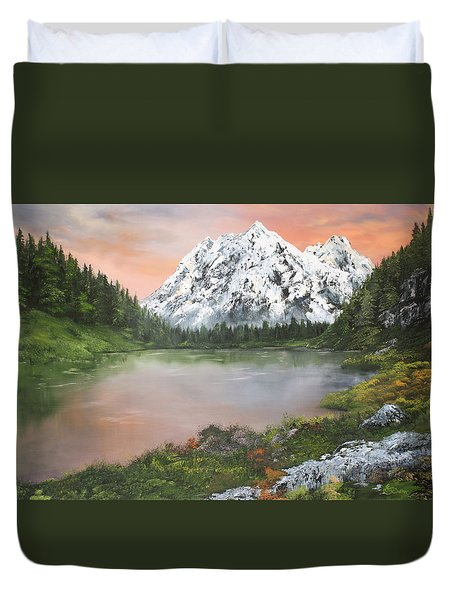 Duvet Cover featuring the painting Lake In Austria by Jean Walker