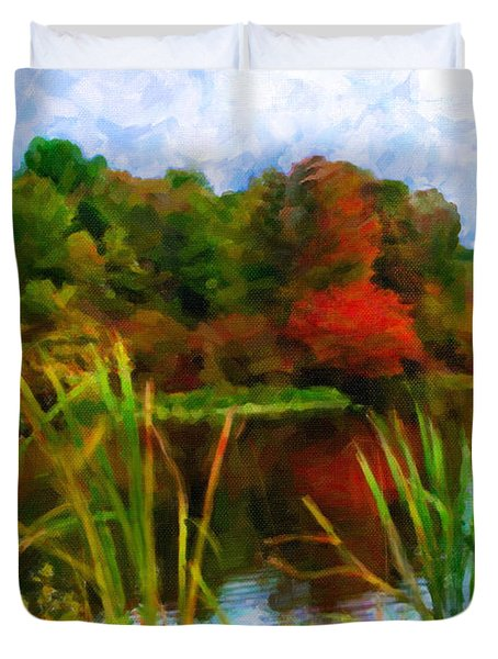 Lake In Early Fall Duvet Cover