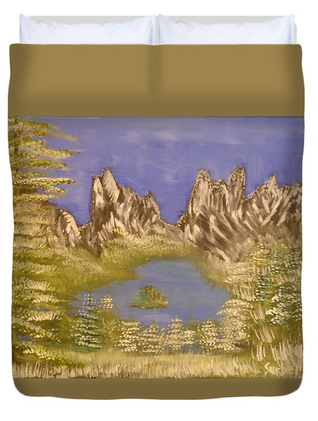 Lake In Glacier Duvet Cover