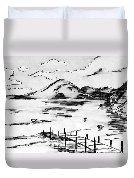 Lake In Guatemala Duvet Cover