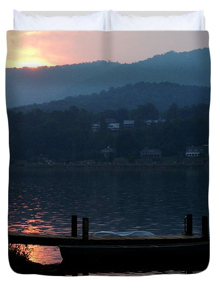 Lake J Sunset Duvet Cover