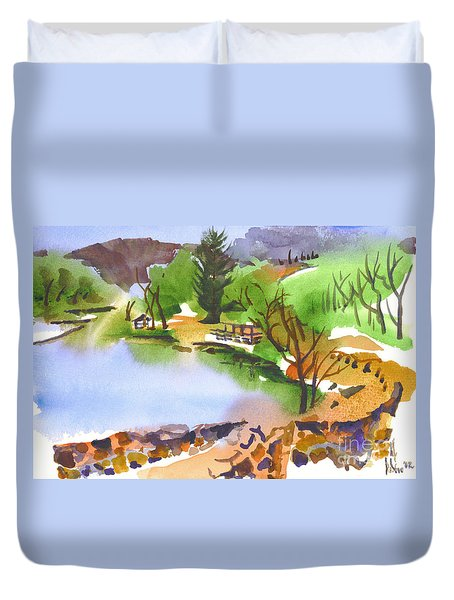Lake Killarney With Rock Wall Duvet Cover by Kip DeVore