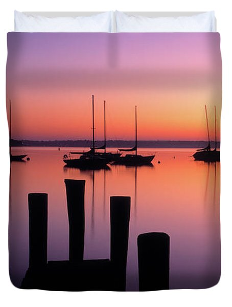 Lake Macatawa At Dawn, Holland, Ottawa Duvet Cover