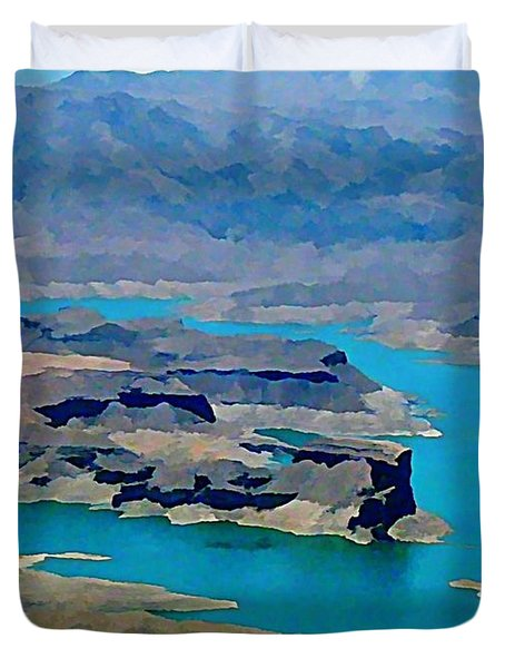 Lake Mead Aerial Shot Duvet Cover by John Malone