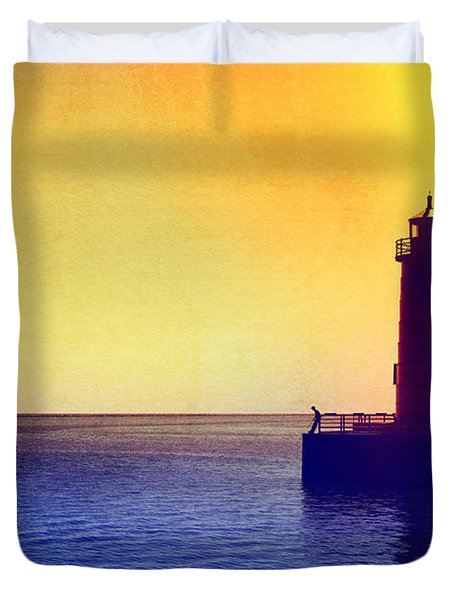 Lake Michigan Duvet Cover by Erika Weber
