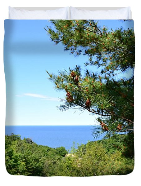 Lake Michigan From The Top Of The Dune Duvet Cover by Michelle Calkins