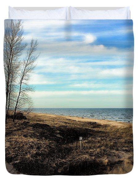 Duvet Cover featuring the photograph Lake Michigan Shoreline by Lauren Radke