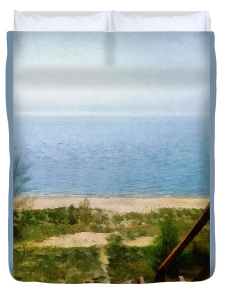 Lake Michigan Staircase Duvet Cover by Michelle Calkins
