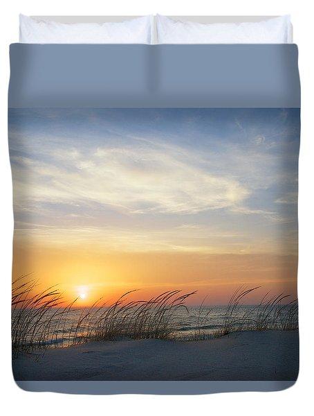 Lake Michigan Sunset With Dune Grass Duvet Cover