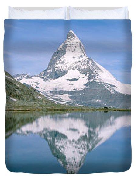 Lake, Mountains, Matterhorn, Zermatt Duvet Cover