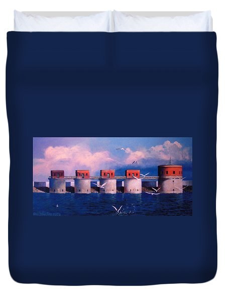 Lake Murray Towers Duvet Cover by Blue Sky