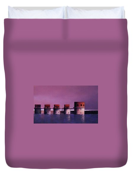 Lake Murray Towers In Evening Duvet Cover by Blue Sky