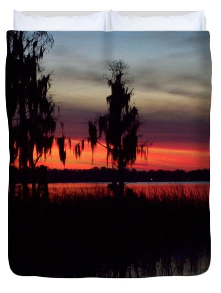 Lake On Fire Duvet Cover