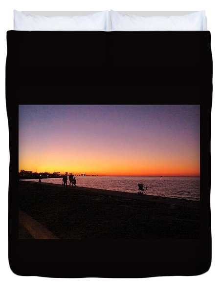Lake Pontchartrain Sunset Duvet Cover