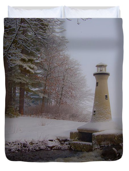 Lake Potanipo Lighthouse Duvet Cover by Brenda Jacobs