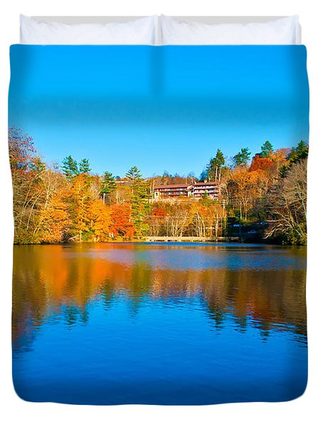 Duvet Cover featuring the photograph Lake Reflections by Alex Grichenko