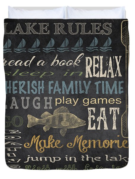 Lake Rules-relax-blue Duvet Cover