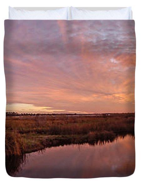 Duvet Cover featuring the digital art Lake Shelby Bridge by Michael Thomas