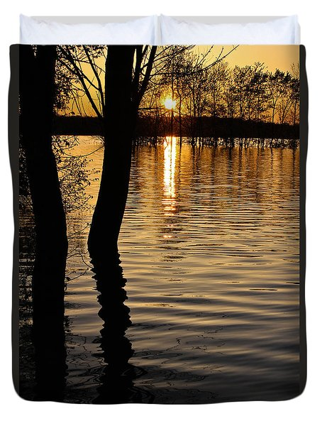 Lake Silhouettes Duvet Cover by Julie Andel