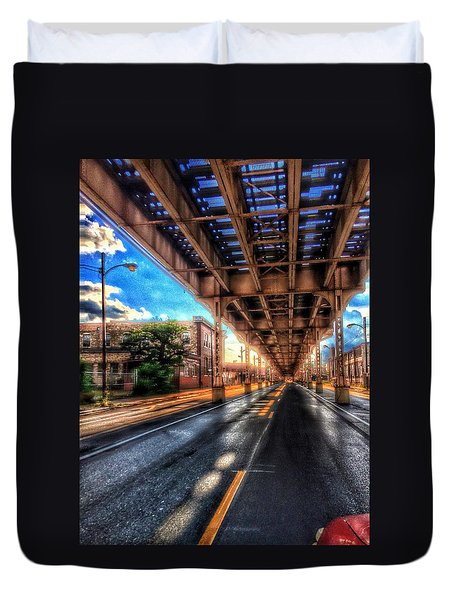 Lake Street El Tracks Duvet Cover