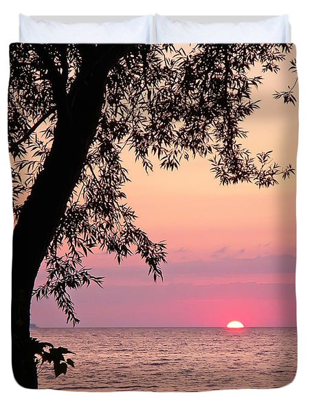 Lake Sunset Duvet Cover by Aimee L Maher Photography and Art Visit ALMGallerydotcom