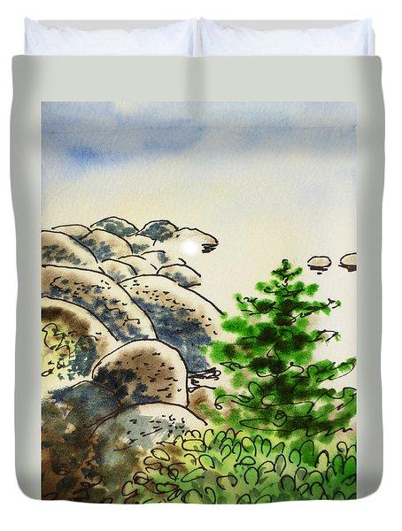 Lake Tahoe - California Sketchbook Project Duvet Cover by Irina Sztukowski
