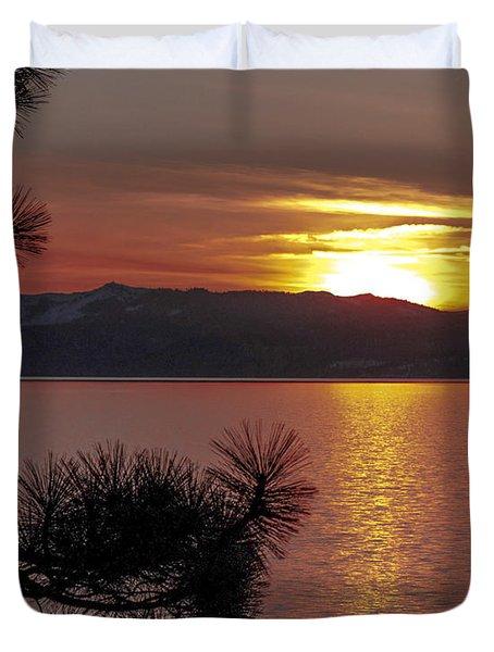 Lake Tahoe Sunset Duvet Cover