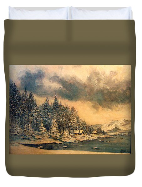 Duvet Cover featuring the painting Lake Tahoe Winter Colors 2 by Donna Tucker