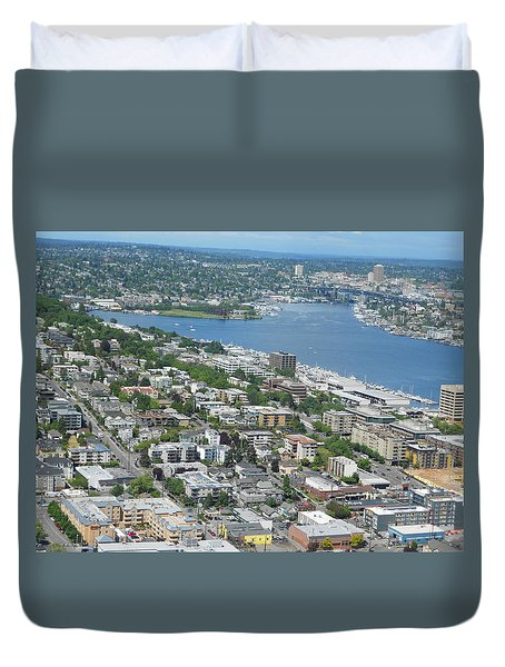 Lake Union Panorama Duvet Cover
