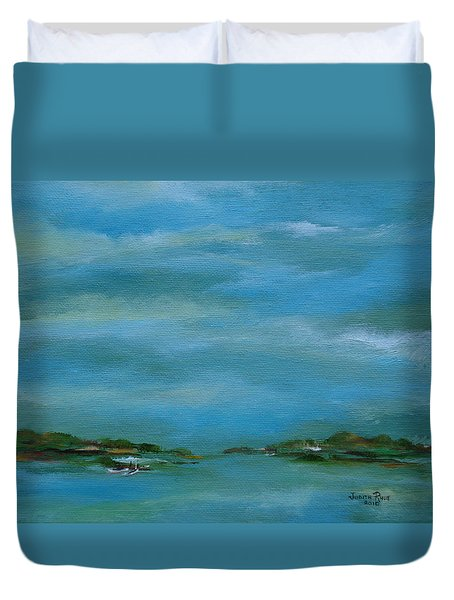 Lake Wallenpaupack Early Morning Duvet Cover by Judith Rhue