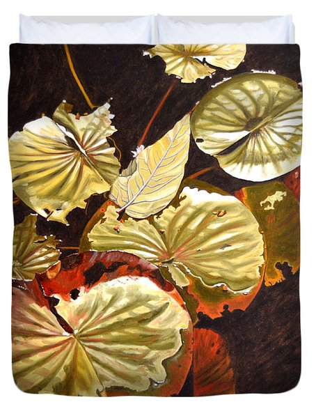 Lake Washington Lily Pad 11 Duvet Cover by Thu Nguyen