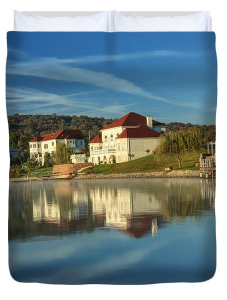Lake White Morning Duvet Cover