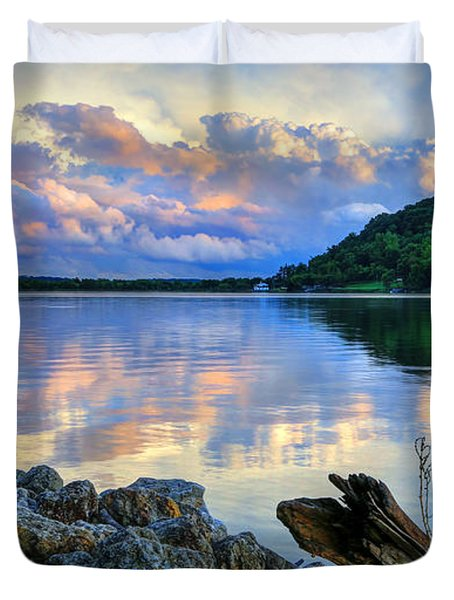 Lake White Sundown Duvet Cover