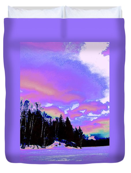 Winter  Snow Sky  Duvet Cover by Expressionistart studio Priscilla Batzell