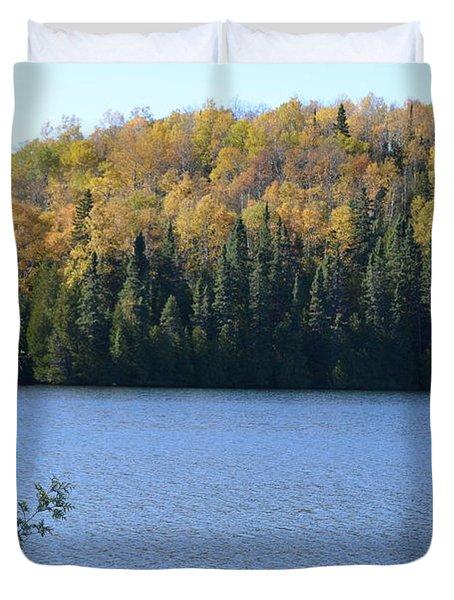 Lake With Golden Leaves Duvet Cover