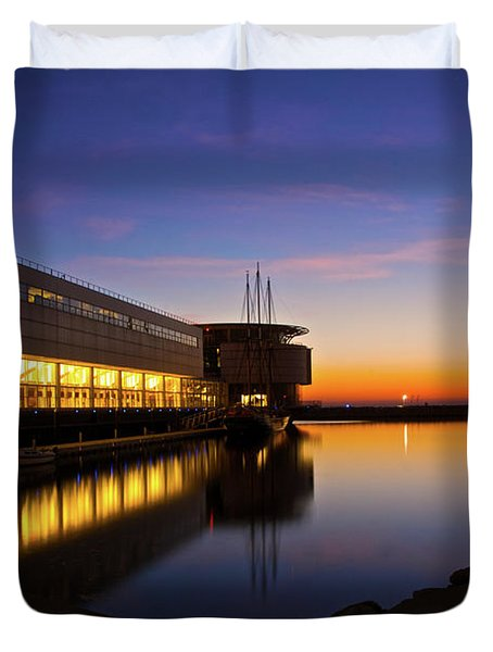 Lakefront Sunrise Duvet Cover by Jonah  Anderson