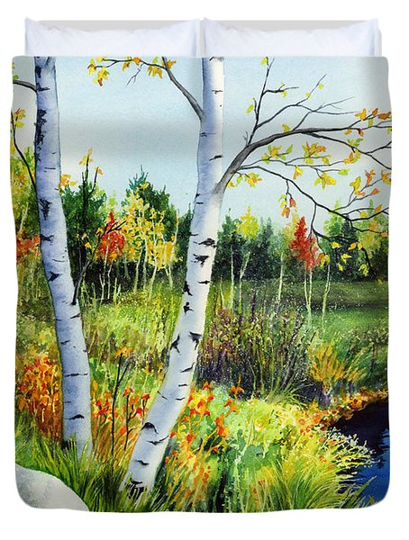 Lakeside Birches Duvet Cover