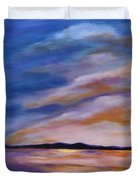 Duvet Cover featuring the painting Lakeside Sunset by Michelle Joseph-Long