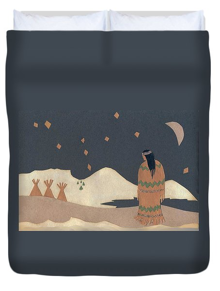 Lakota Woman With Winter Constellations Duvet Cover by Dawn Senior-Trask