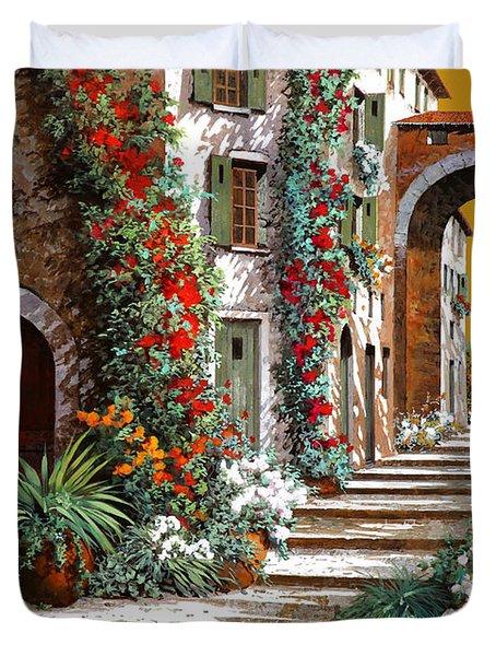 L'altra Porta Rossa Al Tramonto Duvet Cover