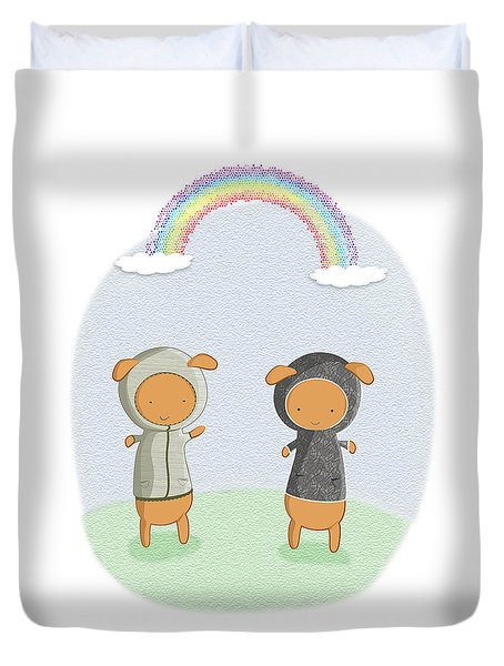 Lamb Carrots Cute Friends Under A Rainbow Illustration Duvet Cover