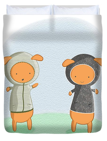 Lamb Carrots Duvet Cover