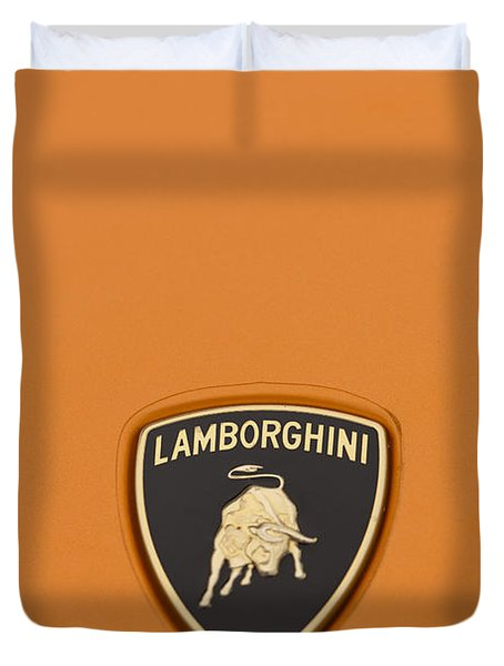 Lambo Hood Ornament Orange Duvet Cover