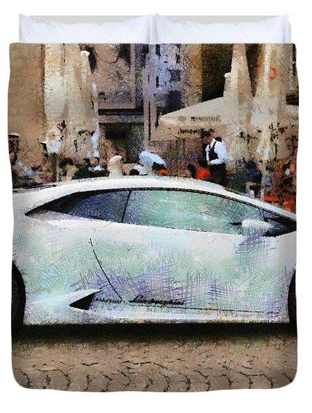 Lamborghini Huracane Lp 610-4 Parked In The City Duvet Cover