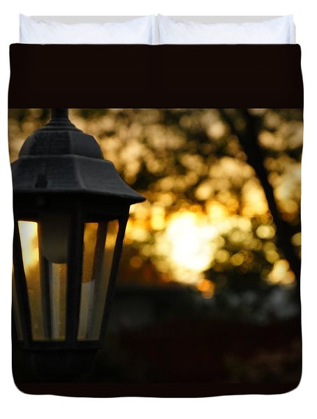 Duvet Cover featuring the photograph Lamplight by Photographic Arts And Design Studio