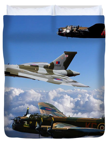 Lancaster Bombers And Vulcan Xh558 Duvet Cover