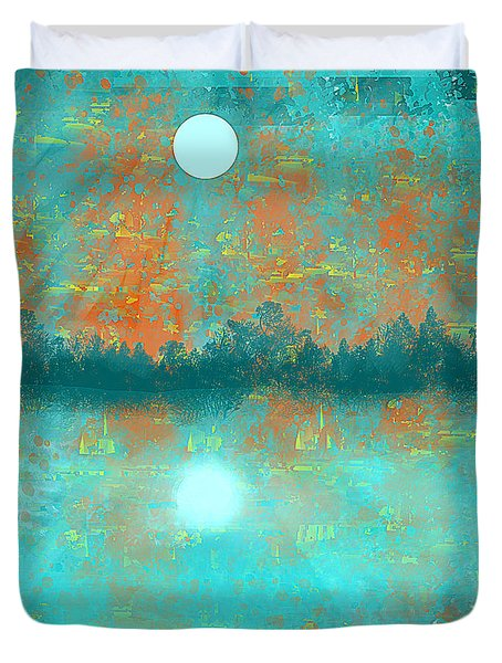 Land And Moon Duvet Cover