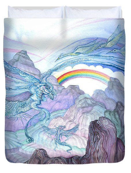 Duvet Cover featuring the painting Land Of Flight by Adria Trail