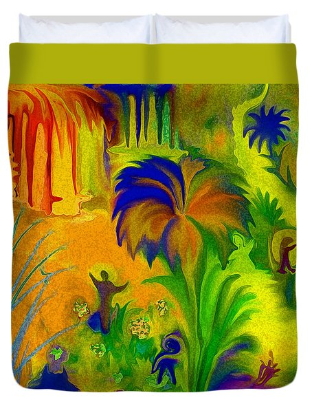 Duvet Cover featuring the digital art Land Of Little Peeps by Sherri  Of Palm Springs